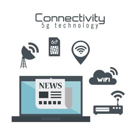 Ilustración de laptop computer with connectivity 5g tech vector illustration design - Imagen libre de derechos