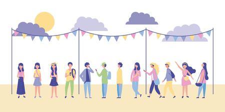 Ilustración de people outdoor activities pennants clouds sunday park vector illustration - Imagen libre de derechos
