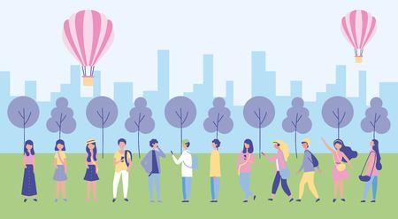 Ilustración de outdoor activities city park hot air balloons people walking listen music vector illustration - Imagen libre de derechos