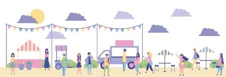 Ilustración de outdoor activities food cars in the park people enjoy vector illustration - Imagen libre de derechos