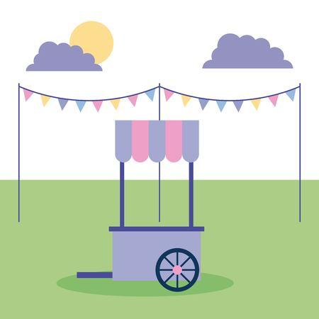 Ilustración de outdoor activities pennants food car in the park sunday vector illustration - Imagen libre de derechos