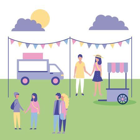 Ilustración de people outdoor activities place to eat food cars in the park vector illustration - Imagen libre de derechos