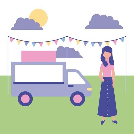Ilustración de outdoor girl in the park food car pennants vector illustration - Imagen libre de derechos