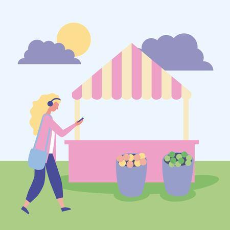Ilustración de outdoor activities blonde girl listen music in the park sunday vector illustration - Imagen libre de derechos