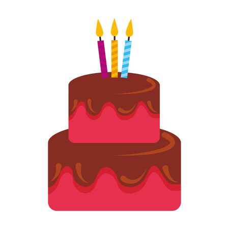 Illustration pour birthday cake sweet food with candles vector illustration - image libre de droit