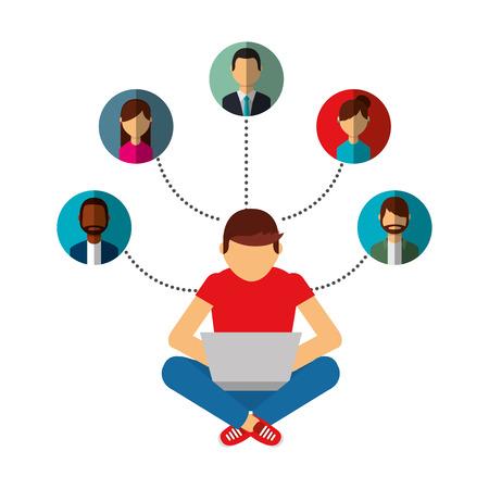 Ilustración de man using laptop connection group people vector illustration - Imagen libre de derechos