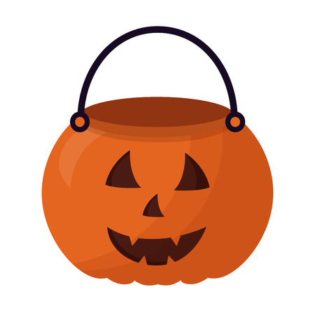 Ilustración de basket halloween pumpkin isolated icon vector illustration design - Imagen libre de derechos