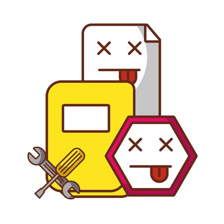 Ilustración de website page error folder file support tools vector illustration - Imagen libre de derechos