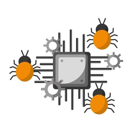 Illustration pour data protection circuit virus attack vector illustration - image libre de droit