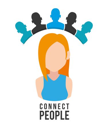 Illustration pour woman with connect people vector illustration design - image libre de droit