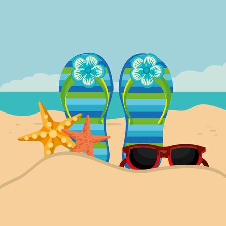Ilustración de beach landscape with flip flops scene vector illustration design - Imagen libre de derechos