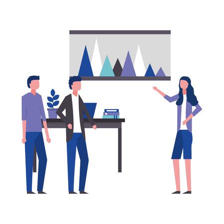 Illustration pour business woman showing report office workspace vector illustration - image libre de droit