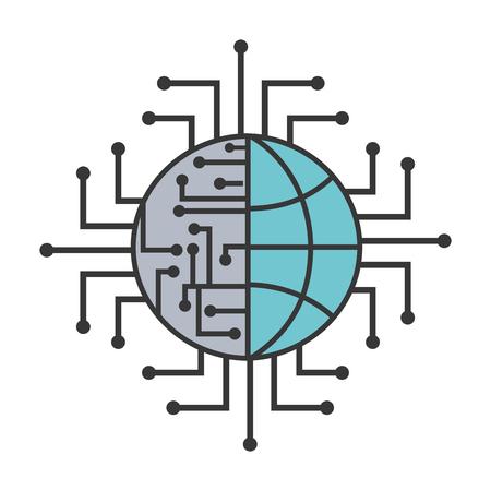 Illustration pour artificial intelligence world connection digital vector illustration - image libre de droit