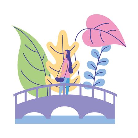 Illustration pour woman standing on the bridge nature plants vector illustration - image libre de droit