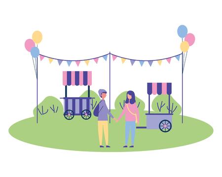 Ilustración de couple in the park garland balloons booth vector illustration - Imagen libre de derechos