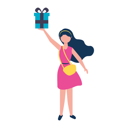 Illustration pour young woman with purse holding gift box vector illustration - image libre de droit