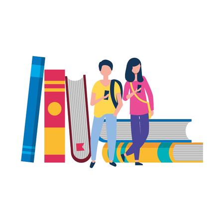 Ilustración de young man and woman using smartphone and stack books vector illustration - Imagen libre de derechos