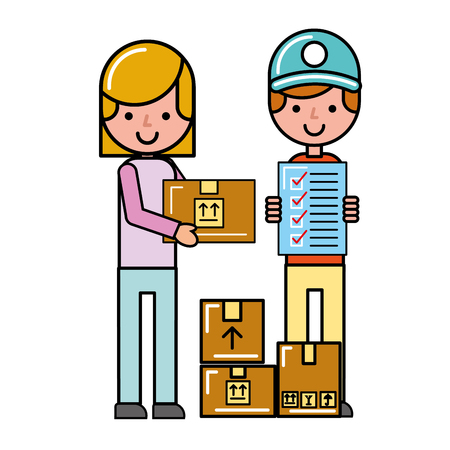 Illustration pour operator and customer girl check list boxes online shopping vector illustration - image libre de droit