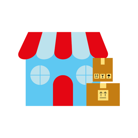 Illustration for online shopping logistic cardboard boxes store vector illustration - Royalty Free Image