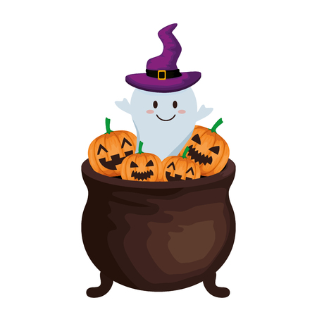 Ilustración de happy halloween cauldron with ghost vector illustration design - Imagen libre de derechos