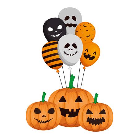Ilustración de happy halloween pumpkins with balloons helium vector illustration design - Imagen libre de derechos