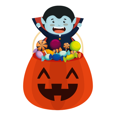 Illustration pour boy dressed up as a halloween dracula with candies vector illustration - image libre de droit