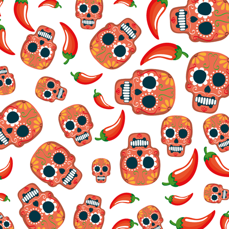 Illustration pour mask of the santa death pattern and chili peppers vector illustration - image libre de droit