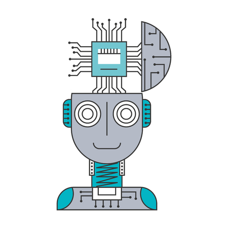 Illustration pour Robot humanoid with microchip isolated icon vector illustration design - image libre de droit