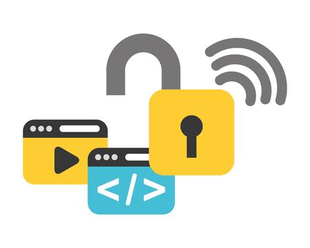 Ilustración de website coding internet wifi data security vector illustration - Imagen libre de derechos