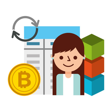 Illustration pour woman user bitcoin blockchain fintech vector illustration - image libre de droit