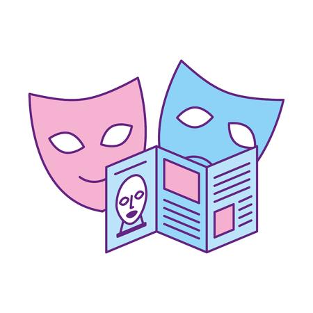 Ilustración de guide pamphlet and masks exhibition museum vector illustration - Imagen libre de derechos