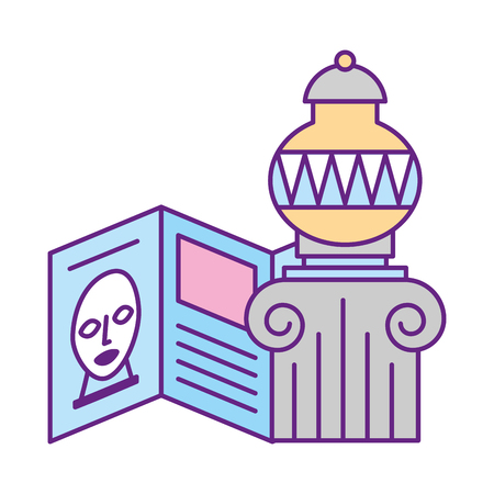 Ilustración de antique vase on pedestal guide pamphlet exhibition museum vector illustration - Imagen libre de derechos