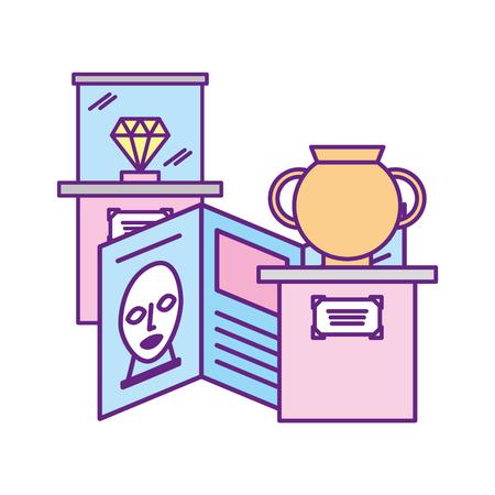 Ilustración de diamond antique vase and guide pamphlet exhibition museum vector illustration - Imagen libre de derechos