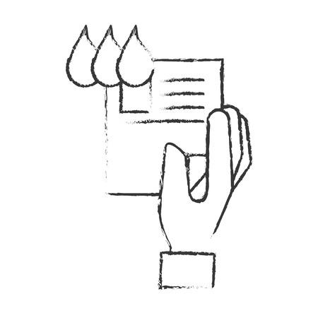 Ilustración de hand holding paper color tone design vector illustration hand drawing - Imagen libre de derechos