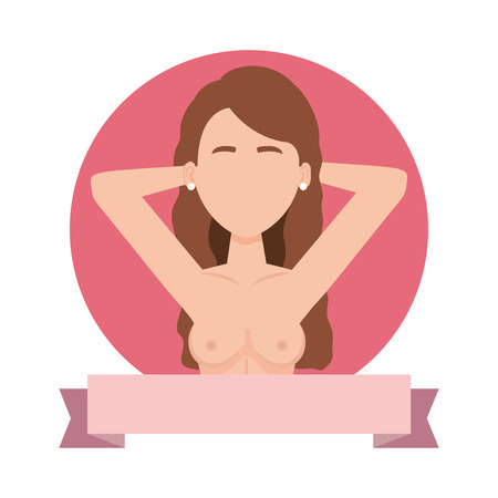 Ilustración de sexy woman with naked torso vector illustration design - Imagen libre de derechos