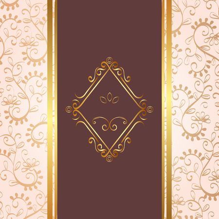 Illustration pour elegant rhombus golden frame vector illustration design - image libre de droit