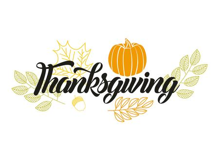Illustration pour happy thanksgiving leaves sign pumpkin vector illustration - image libre de droit