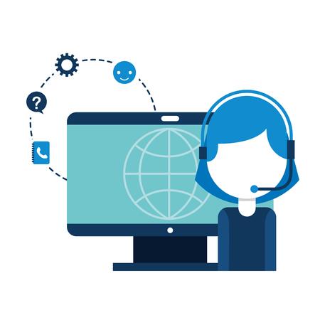 Illustrazione per call center girl computer world vector illustration - Immagini Royalty Free