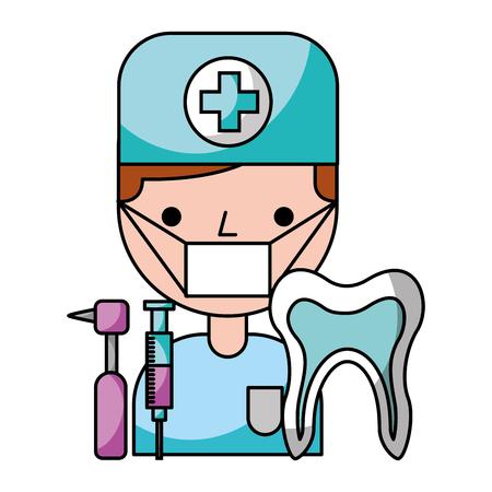 Illustration pour dentist  man tooth tools hygiene dental vector illustration - image libre de droit