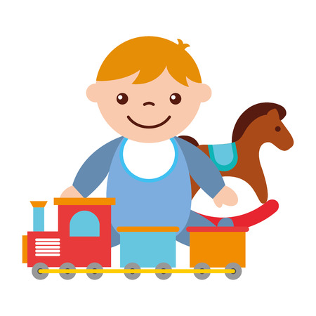 Illustration pour cute baby boy sitting with rocking horse train toy vector illustration - image libre de droit