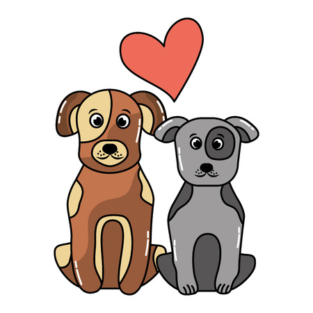 Ilustración de two dog sitting domestic pet love vector illustration - Imagen libre de derechos