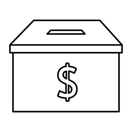 Illustration for donation box with money symbol vector illustration design - Royalty Free Image