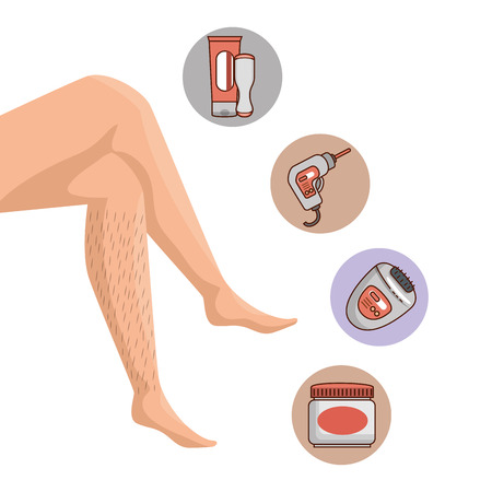 Illustration pour legs of woman with hair and depilation products vector illustration - image libre de droit
