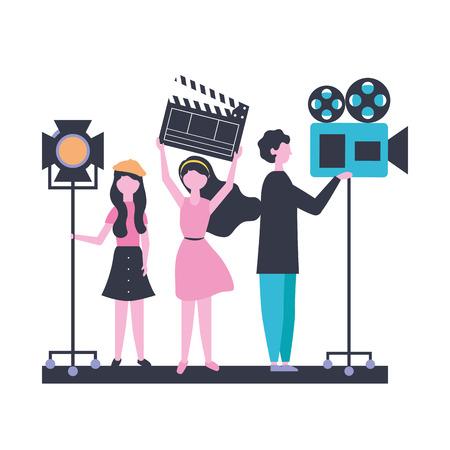 Illustration pour people team production movie film vector illustration - image libre de droit