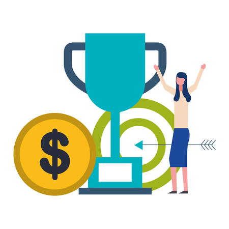 Ilustración de business woman trophy target and coin money vector illustration - Imagen libre de derechos