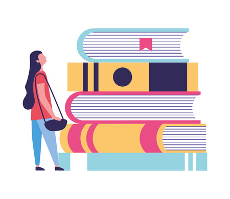 Ilustración de young woman with education books vector illustration - Imagen libre de derechos