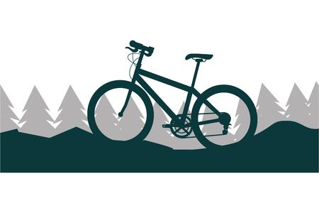 Ilustración de bicycle nature landscape mountain trees vector illustration - Imagen libre de derechos