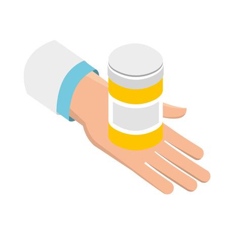 Illustration pour hand with bottle pills medical healthcare vector illustration - image libre de droit