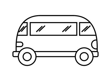 Illustration pour mini van retro hippie style vector illustration outline - image libre de droit