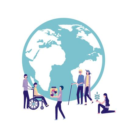 Illustration for volunteers help work international people together donate vector illustration - Royalty Free Image